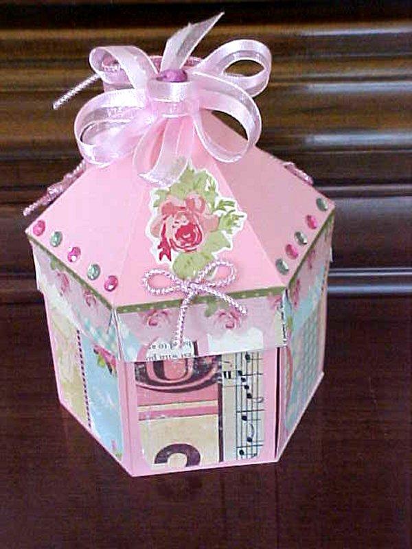 Craft Creations Exploding Hexagon Pink Carousel Box