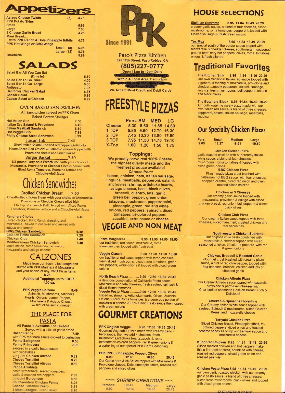 vc menu paso 39 s pizza kitchen paso robles ca