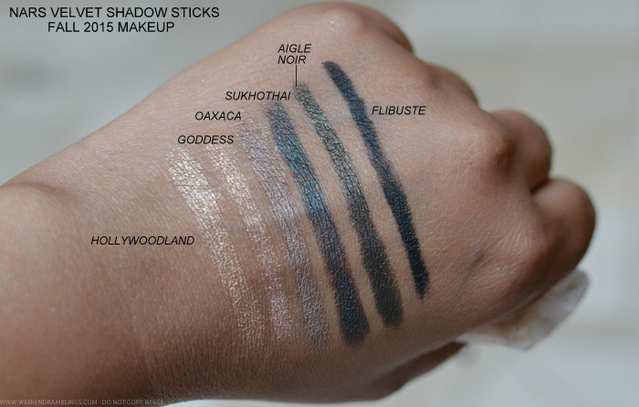 NARS Vevet Shadow Sticks Fall 2015 Makeup Collection Swatches Hollywoodland Goddess Oaxaca Aigle Noir Sukhothai Flibuste Glenan Reykjavik