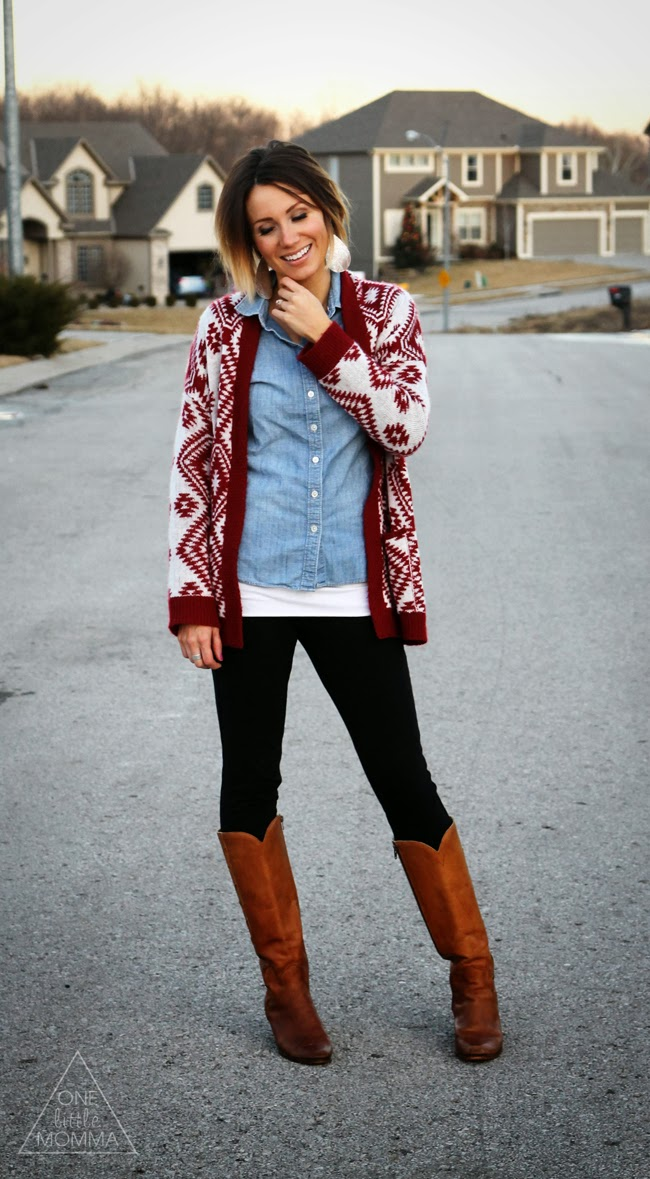 What I Wore + More- Red Aztec Cardigan and Chambray