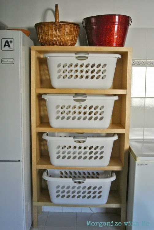 Great laundry basket tower to keep laundry organized :: OrganizingMadeFun.com