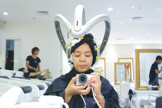 perming process at One Piece Hair Studio