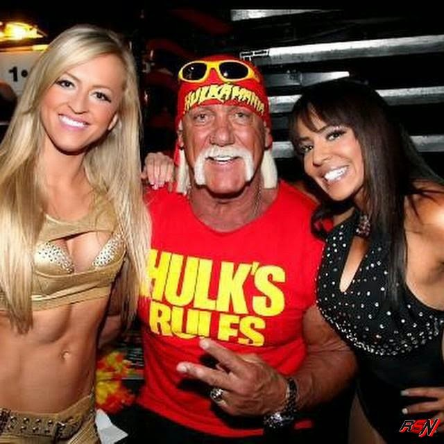 Hulk Hogan Backstage with Summer Rae and Layla.