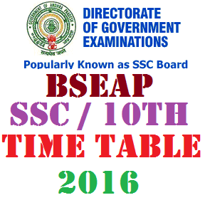 AP SSC 10th Class Time Table 2016