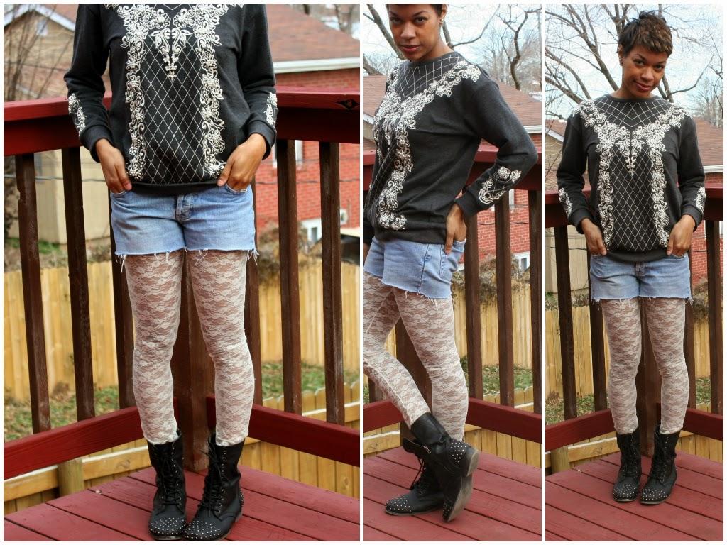 topshop sweatshirt cutoffs lace leggings