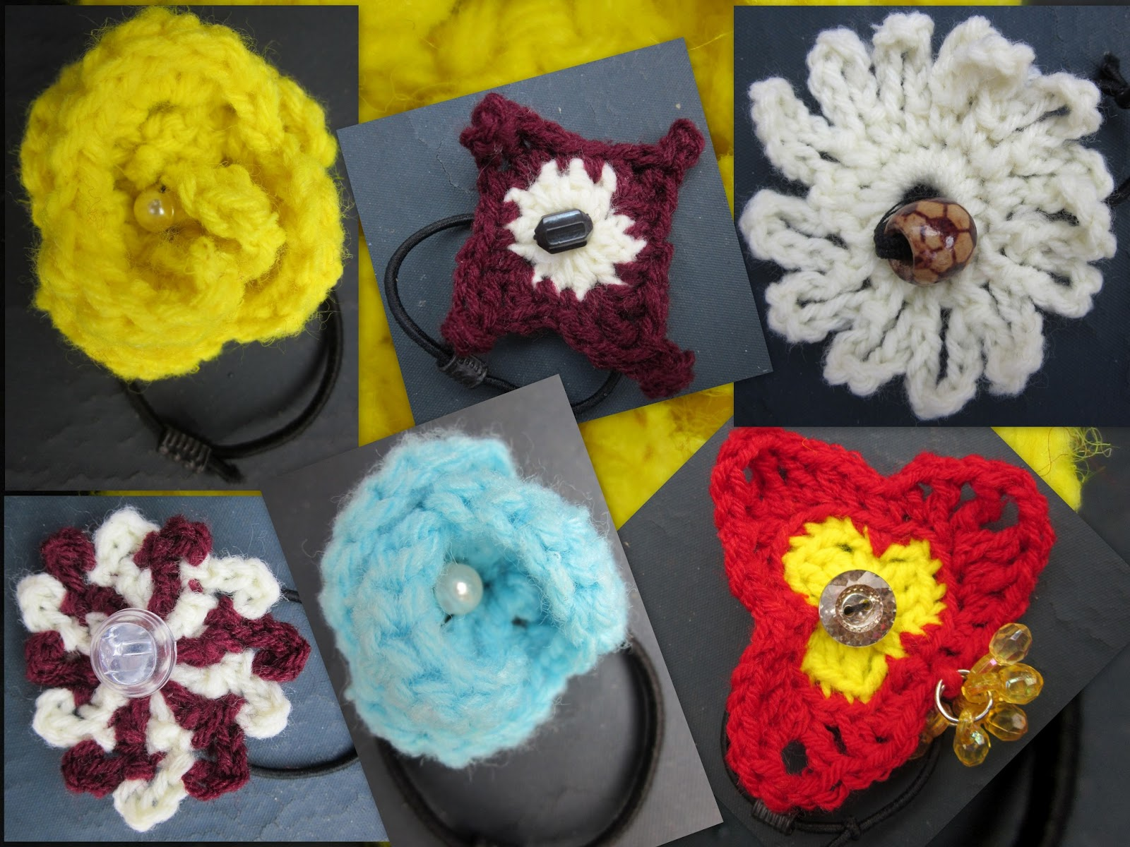 Crochet Hair Rubber Band : CREATIVE HALL: CROCHET FLOWER RUBBER BANDS