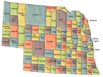 Nebraska County Map Area