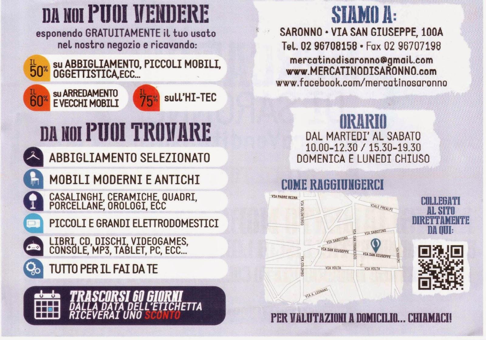 Il Volantino Pubblicitario Del Mercatino Di Saronno CANEGRATE USATOMANIA  Via Olona, 5 (area Ex Borletti) Cell. 340 3793585