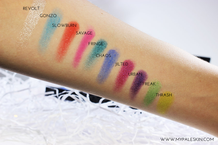 Urban Decay Electric Pressed Pigment Palette, Urban Decay, Electric, Swatch, Review, My Pale Skin, Pale Skin