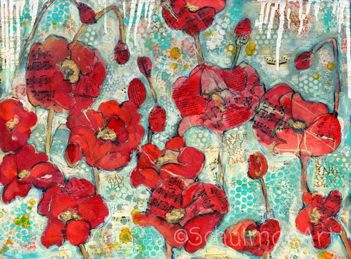 red poppy art | collect this art on https://www.etsy.com/listing/14311135/modern-red-poppy-flower-art-original
