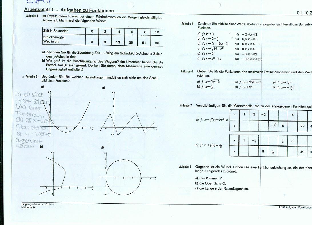 Schulblog: Mathe Arbeitsblatt + Lösung