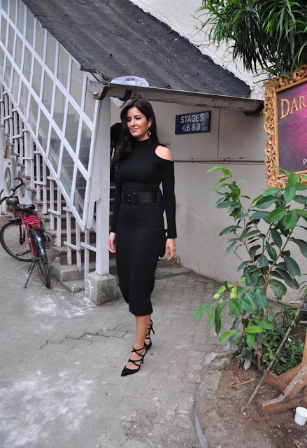 Katrina Kaif Looks Stunning In Black Dress At 'Phantom' Promotions At Mehboob Studios