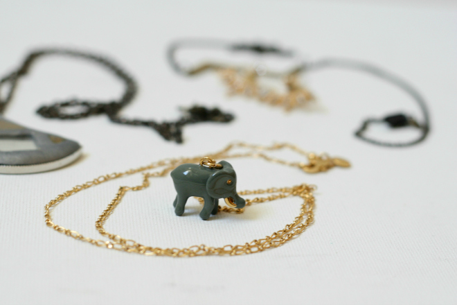 j crew elephant charm necklace