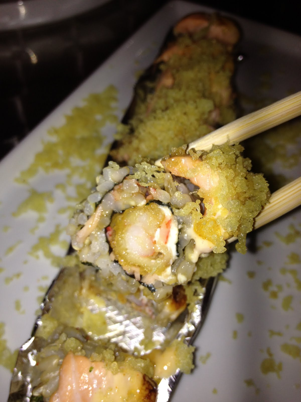 Miami Heat - shrimp tempura, cream cheese, krab salad, topped with ...