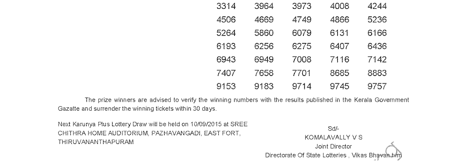 Karunya Plus Lottery KN 73 Result 3-9-2015