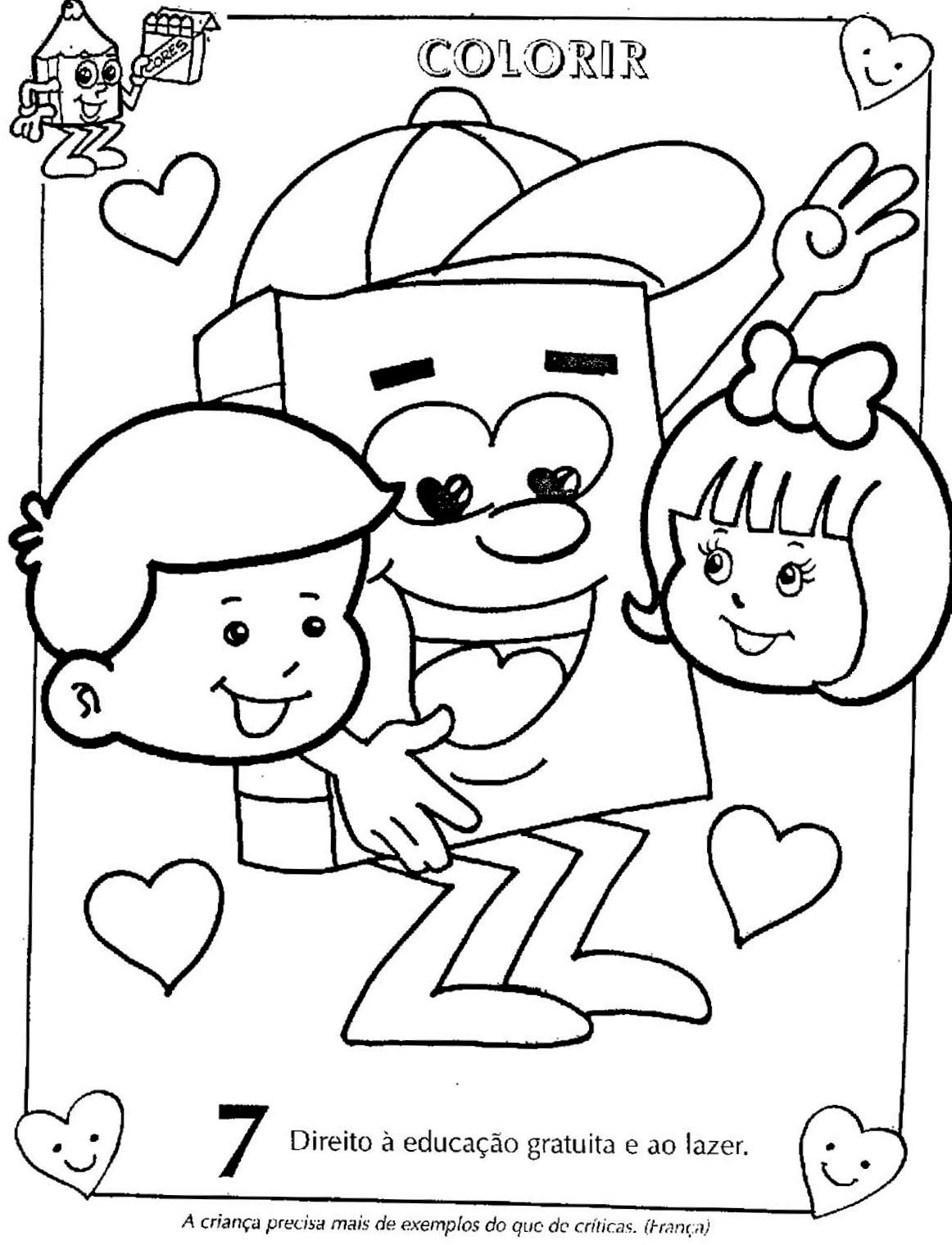 Well-known Colorir Desenhos sobre Direitos e Deveres da Criança - Mundinho da  DT71