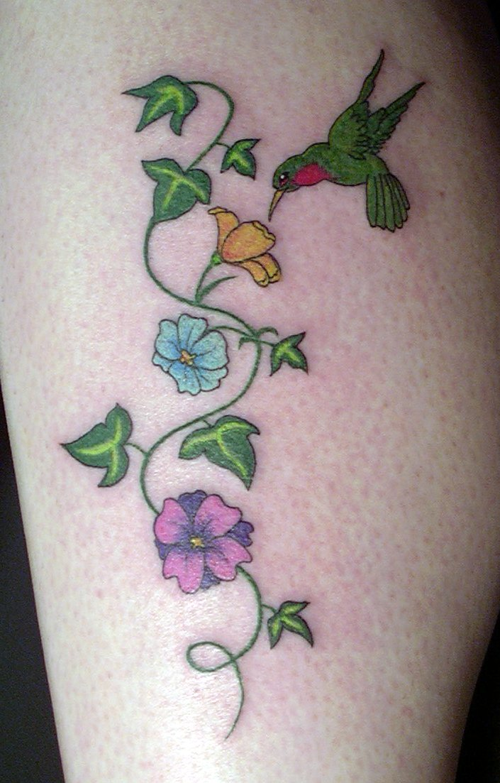 Humming bird tattoos hummingbird tattoos with flowers and for Flower vine tattoo images