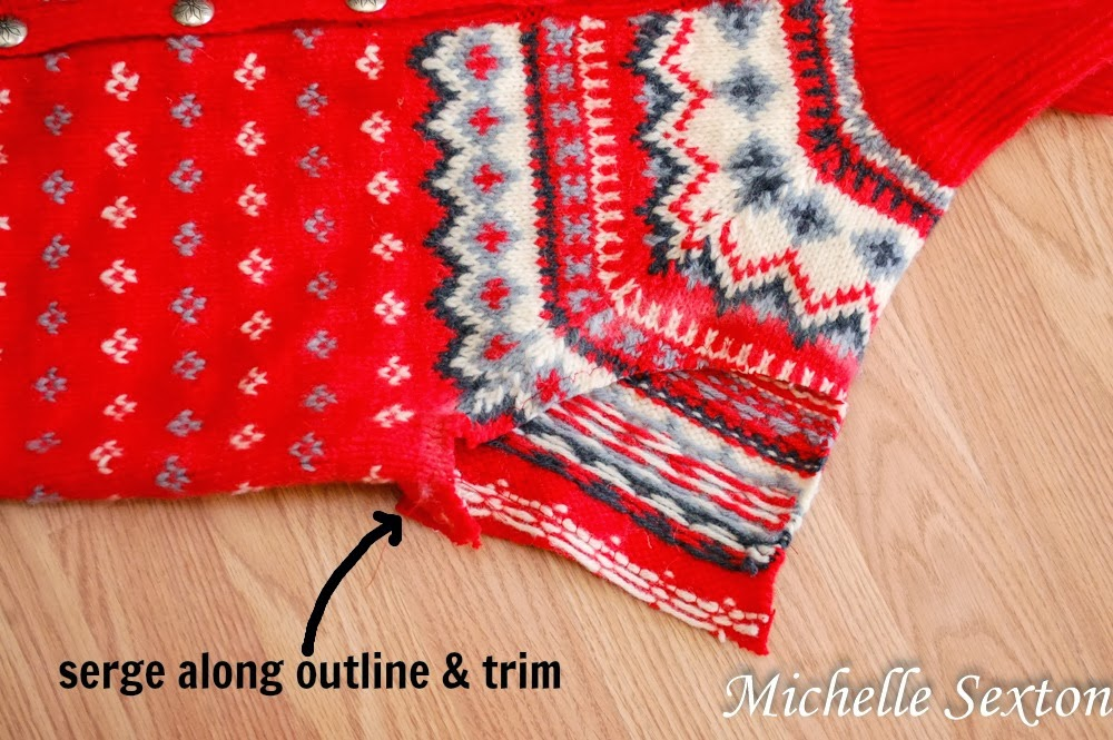 serge along the arm cut out path - how to upcycle a sweater