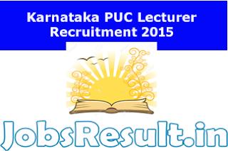 Karnataka PUC Lecturer Recruitment 2015