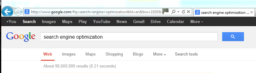 "About 90,600,000 results in 0.21 seconds when searching for ""seach engine optimization"" on google"