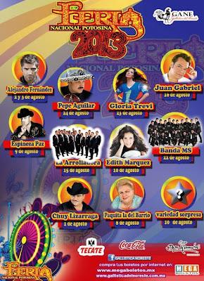 Cartelera FENAPO 2014 proximos conciertos y boletos