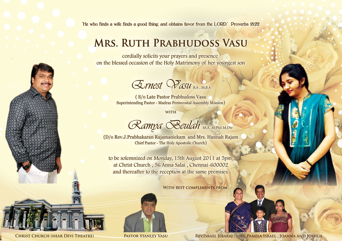 PASTOR STANLEY VASU: WEDDING INVITATION: ERNEST VASU WEDS RAMYA ...