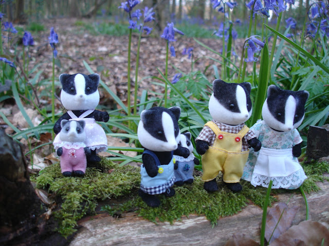 Sylvanian Families Underwood Badger Family in the Bluebell woods