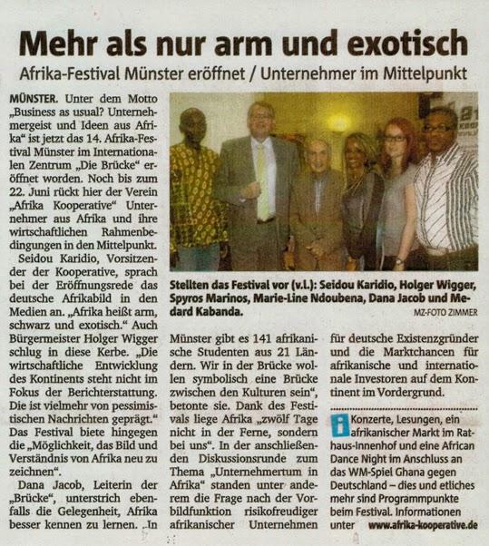 Afrika-Festival Münster eröffnet / Unternehmer im Mittelpunkt