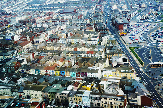 urban photography, view from the tower, Lancashire, suburbs, Blackpool Tower