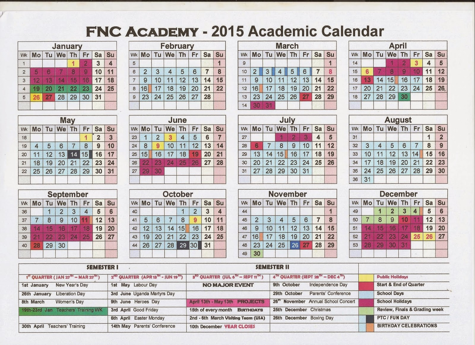 annual calendar 2015