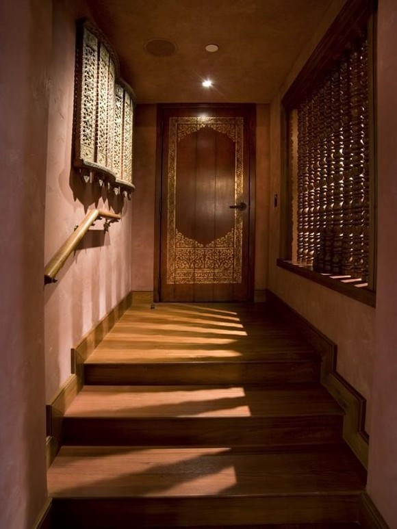 Photo of Thai wooden doors and wooden staircase