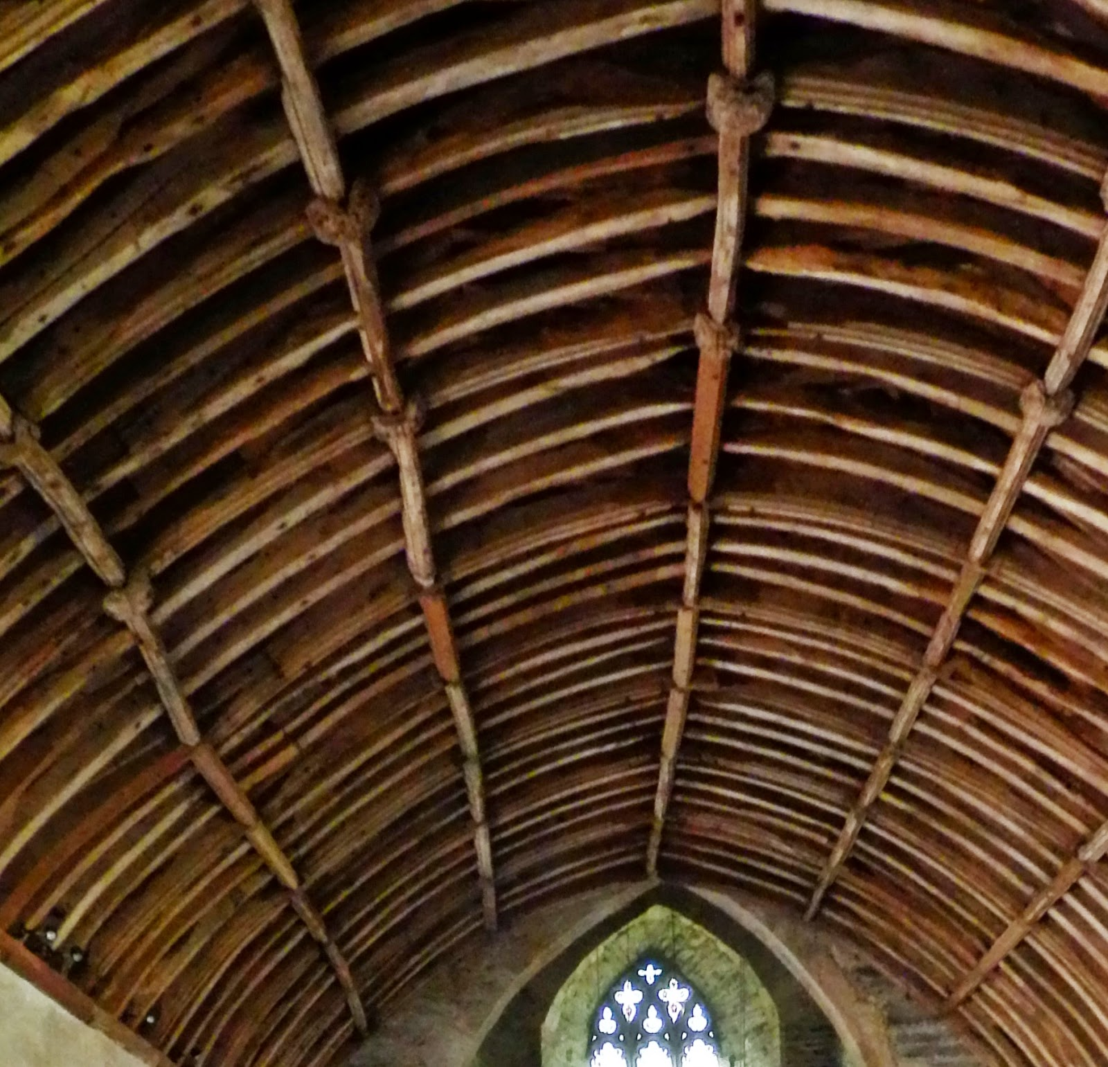 Wagon roof inside church at Lanteglos Cornwall