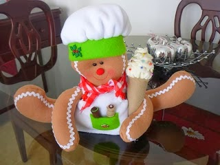 Moldes boneco ginger para o natal de feltro