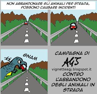 Abbandono animali, umorismo vignetta