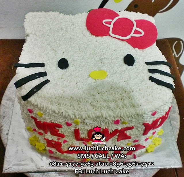 Kue tart 3d Kepala Hello Kitty Merah
