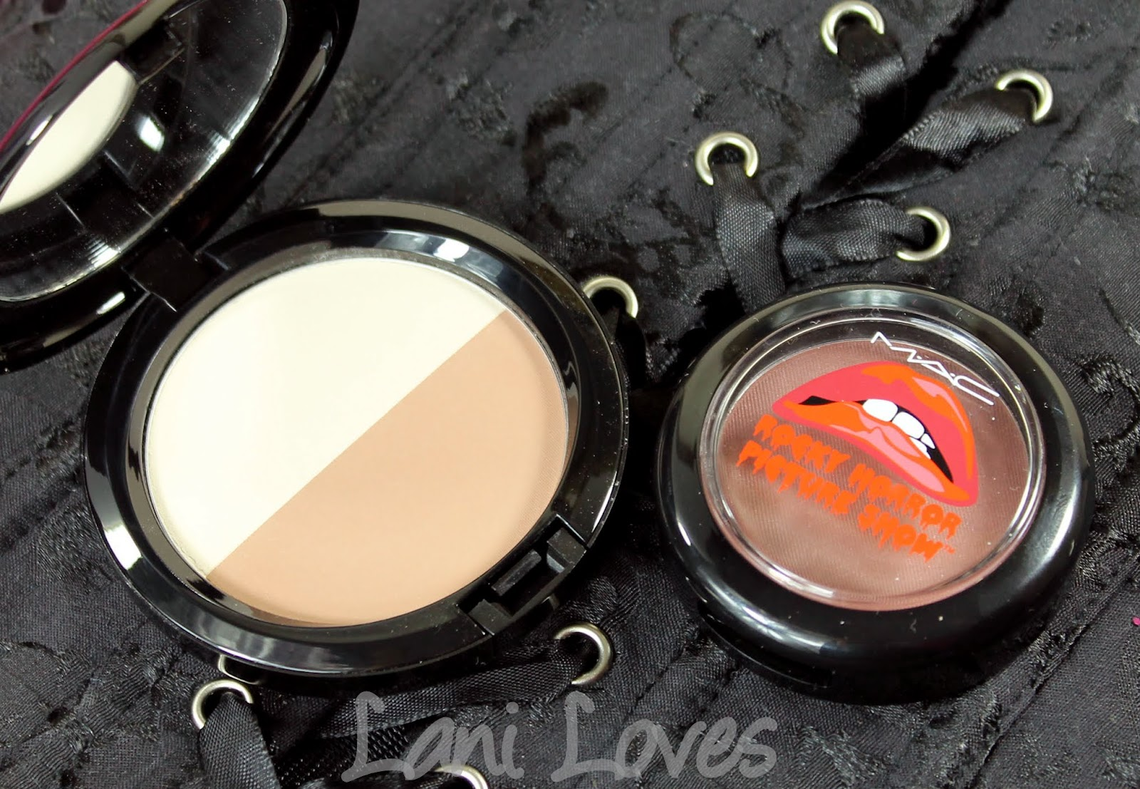 MAC X Rocky Horror Picture Show: Crazed Imagination and Bone Beige/Emphasize Sculpt and Shape Powder Swatches & Review
