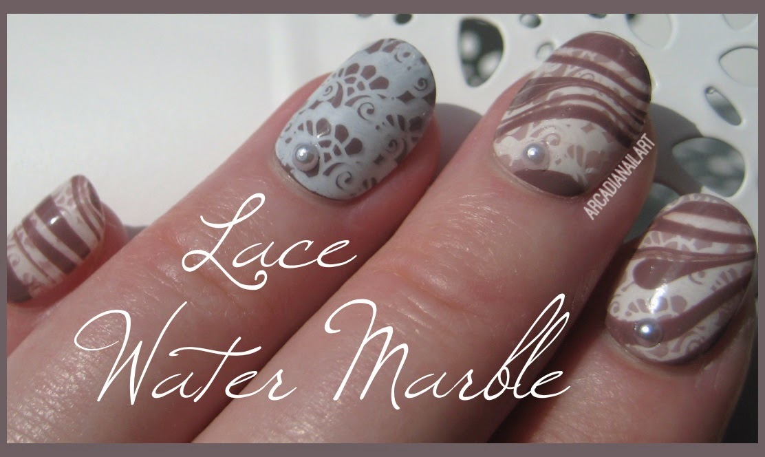 ArcadiaNailArt: Lace Water Marble Nails