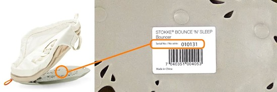 Stokke® Bouncer serial number location