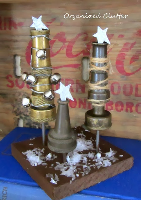 Hose Nozzle Christmas Trees www.organizedclutterqueen.blogspot.com