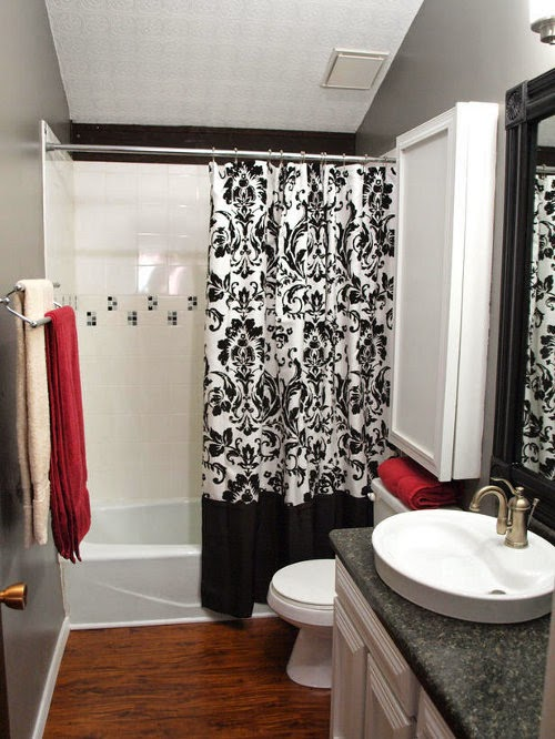 Beautiful Modern Bathroom Interior Design With Black And White Floral Curtains