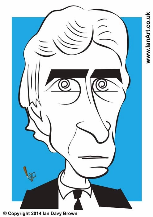 Manchester City's Manuel Pellegrini caricature by Ian Davy Brown