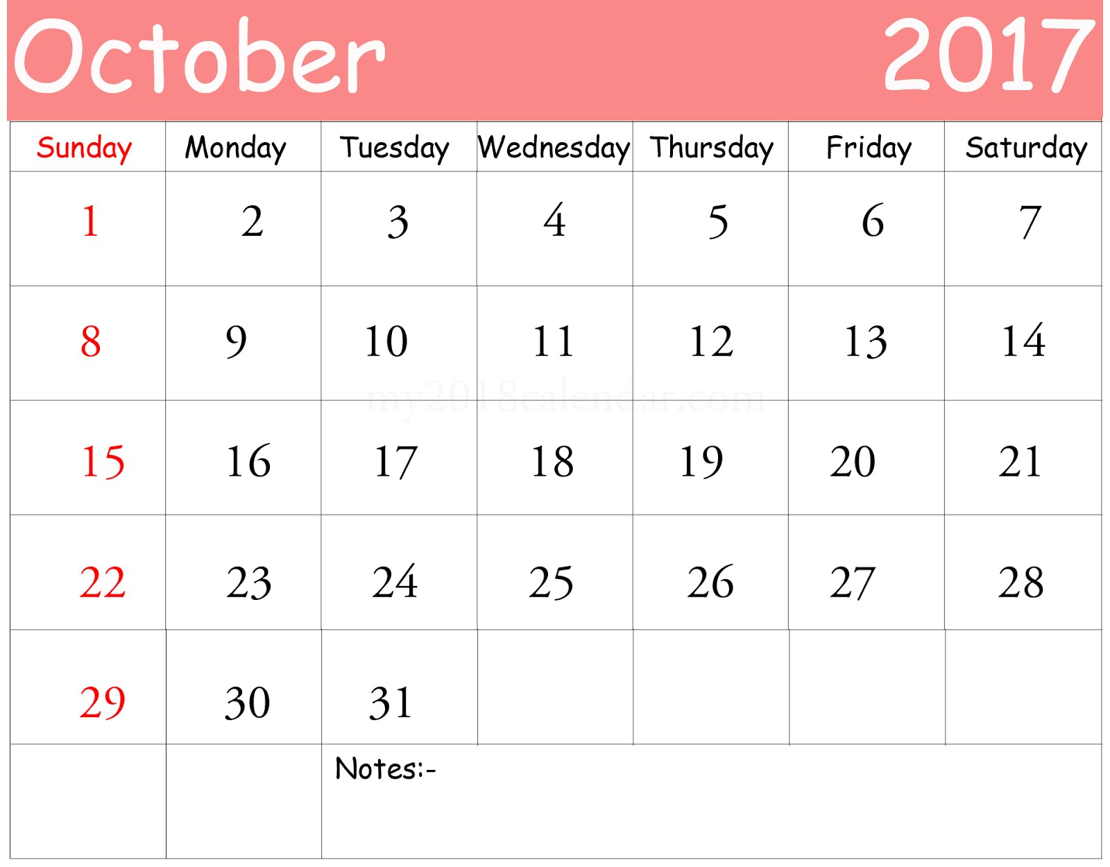 Free October 2017 Printable Calendar Blank Templates Blank