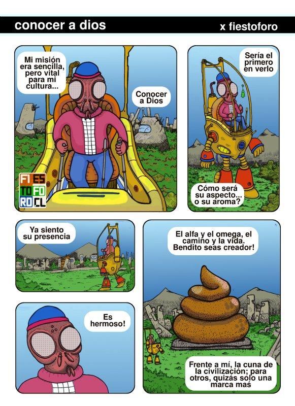 Comic de mosca que busca su mierdero origen
