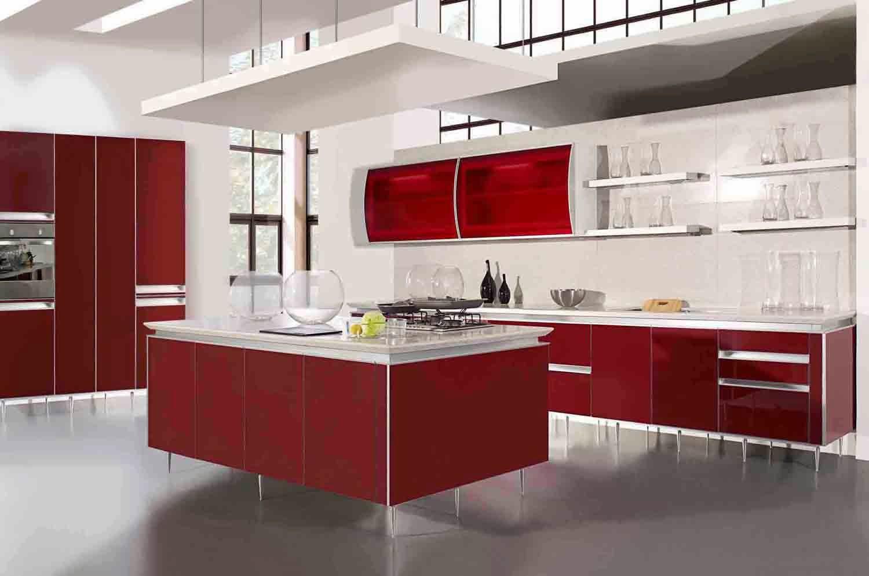 Contoh Desain Kitchen Set Minimalis Warna Merah