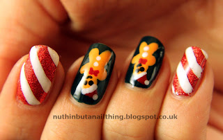 Gingerbread Man and Candy Canes Nails