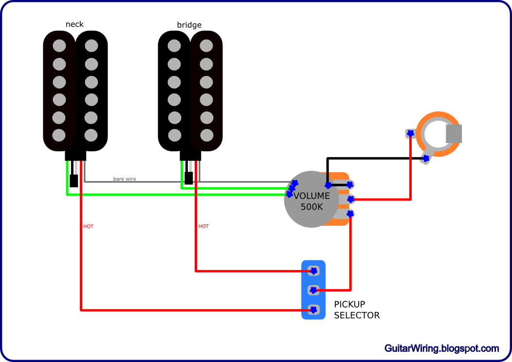 simpleaxis the guitar wiring blog diagrams and tips simple wiring in the 2 pickup guitar wiring at soozxer.org