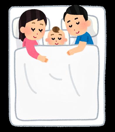 川の字に寝る家族のイラスト