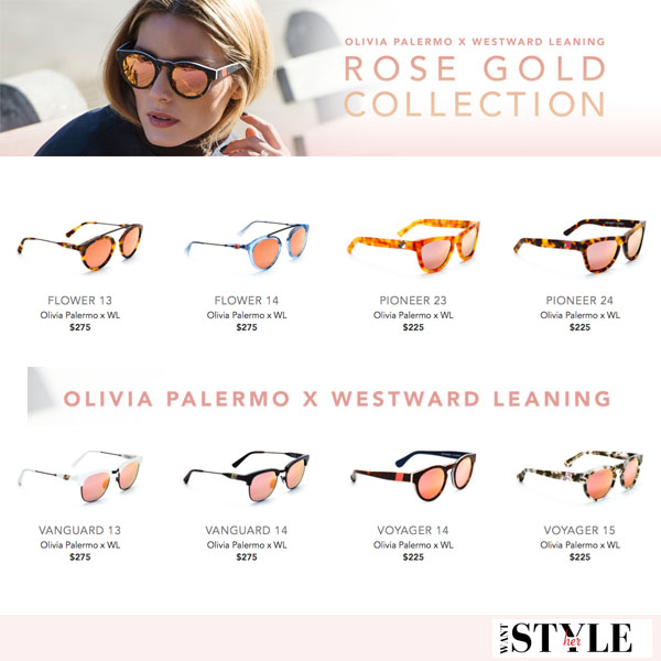 Olivia Palermo Westward Leaning Rose Gold Collection shop new sunglasses