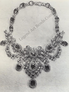 A diamond and sapphire necklace from a suite that once belonged to the Empress Marie Louise, second wife of Napoleon. After the exile of Napoleon, the empress returned to Vienna and the jewelry remained in the possession of the Austrian royal family. The whole collection including this necklace was buried in 7945 to save it from the Russian occupying forces.