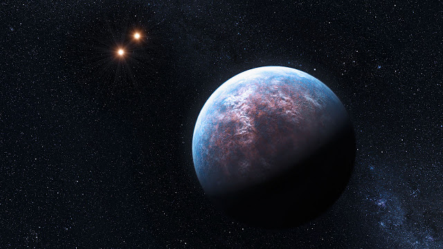 Artist's impression of Gliese 667Cc, a possible Earth-like exoplanet 22 light years distant, in the constellation Scorpius.